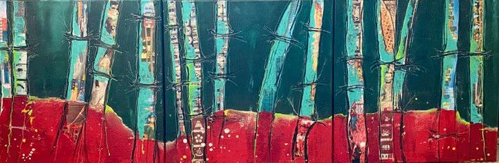 bamboo, Acryl auf Leinwand, 3 x 50 x 50cm